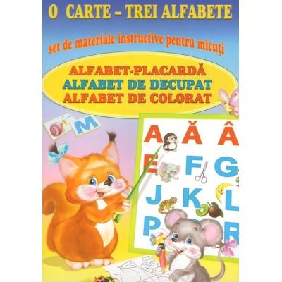 O carte - trei alfabete. Set de materiale instructive pentru micuti